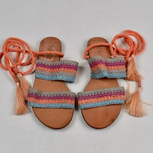 (SCHUTZ) Zendy Crochet Ankle-Wrap Slides